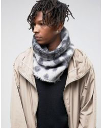 ASOS | Gray Infinity Scarf In Geometric Design In Brushed Yarn for Men | Lyst