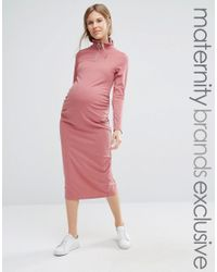 Bluebelle Maternity | Red Ribbed Bodycon Midi Dress With Zip Detail | Lyst