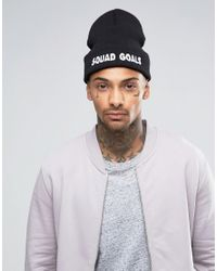 ASOS | Black Beanie With Squad Goals Embroidered Slogan for Men | Lyst