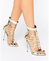 Missguided - Metallic Strappy Gladiator Heeled Sandals - Lyst