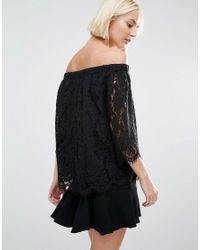 Whistles - Black Darcie Lace Bardot Top - Lyst