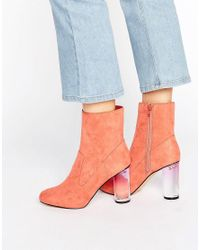 Missguided Pink Clear Block Heel Ankle Boots