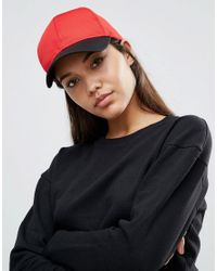 ASOS - Red Basic Baseball Cap In Colour Block Mesh - Lyst