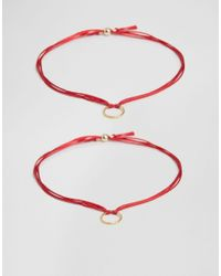 Dogeared Red Gold Plated You&me Set Of 2 Sparkle Ring Friendship Bracelets