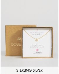 Dogeared - Metallic Gold Plated Little Bits Of Happy Mini Anchor Boxed Necklace - Lyst