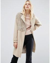 ASOS | Natural Biker Coat With Borg Detail | Lyst