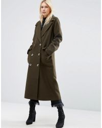 ASOS | Green Coat With Oversized Styling | Lyst