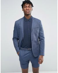 SELECTED - Blue Cotton Blazer for Men - Lyst