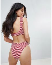ASOS Multicolor Design Mix And Match Crinkle High Leg Hipster Bikini Bottom In Stripe