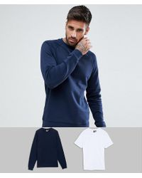 ASOS Blue Asos Sweatshirt And Crew Neck Tshirt 2 Pack Navy/white Save for men
