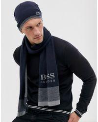Set regalo con berretto e sciarpa a coste di BOSS in Blue da Uomo