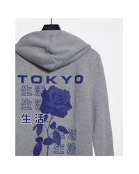 """Худи С Принтом Розы И Надписью """"tokyo"""" На Спине ASOS для него, цвет: Gray"""