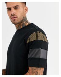 River Island – es T-Shirt mit Blockfarben aus PU in Black für Herren