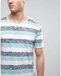 Esprit - Blue Reverse Stripe T-shirt With Raw Edges for Men - Lyst