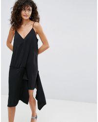 ASOS Black Raw Edge Asymmetric Hem Cami Dress