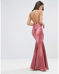 ASOS | Pink Satin Fishtail Maxi With Multi Strap Back Dress | Lyst
