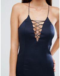 AX Paris - Blue Lace Up Front Cami Midi Dress - Lyst