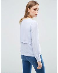 ASOS - Blue V Neck Collarless Blouse With Double Layer - Lyst