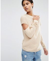 ASOS   Pink Jumper In Ripple Stitch With Slash Sleeves   Lyst