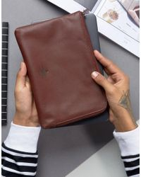 ASOS - Red Leather Document Travel Case With Foil Emboss for Men - Lyst