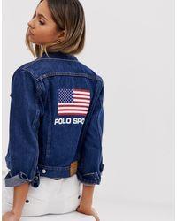 Polo Ralph Lauren Blue Polo Sports – Jeansjacke mit Flaggenlogo