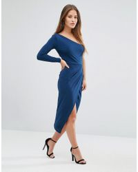 ASOS - Blue One Shoulder Crepe Wrap Midi Dress - Lyst