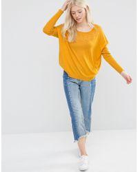 Vila Yellow Kaktas Long Sleeve Knit Top