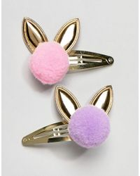 ASOS Multicolor Pack Of 2 Pom Bunny Hair Clips