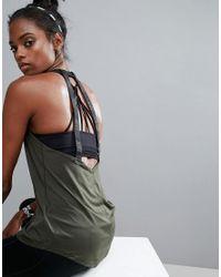 Nike | Green Elastika Double Strap Tape Back Tank In Khaki | Lyst