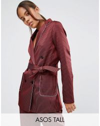 ASOS - Red Piped Stripe Pyjama Jacket - Lyst