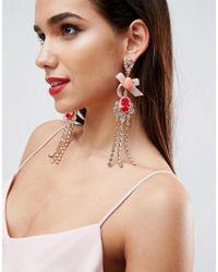 ASOS Metallic Occasion Cameo Fringe Earrings