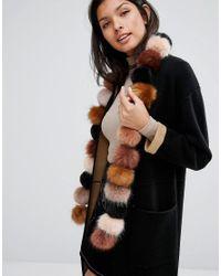Urbancode Brown Faux Fur Pom Long Scarf