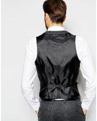 ASOS - Gray Slim Waistcoat In 100% Wool for Men - Lyst