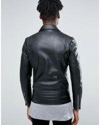 Pull&Bear Faux Leather Biker Jacket In Black for men