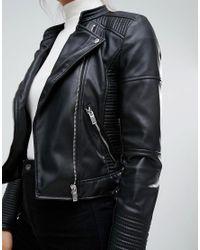 Pull&Bear Black Collarless Faux Leather Biker Jacket
