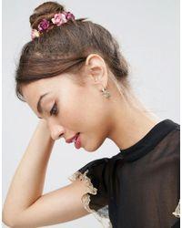 ASOS - Metallic Pretty Flower Hoop Earrings - Lyst