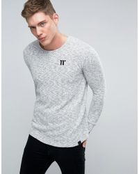 11 Degrees White Long Sleeve T-shirt With Fleck for men