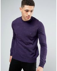 French Connection - Purple Crew Neck Knitted Jumper for Men - Lyst