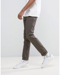 ASOS Green Tall Skinny Chinos In Dark Khaki for men