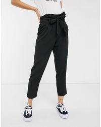 New Look Black – e Paperbag-Hose mit hohem Bund
