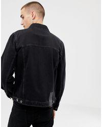 Giacca di jeans skinny nero slavato di Heart & Dagger in Black da Uomo