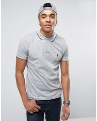 French Connection | Gray Tipped Pique Polo Shirt for Men | Lyst
