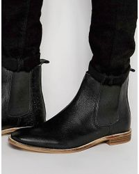 ASOS | Chelsea Boots In Black Scotchgrain Leather - Wide Fit Available for Men | Lyst