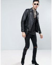 ASOS Black Regular Fit Viscose Shirt With V Neck In Polka Dot Print for men