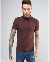 ASOS Red Muscle Pique Polo Shirt With Logo In Burgundy for men