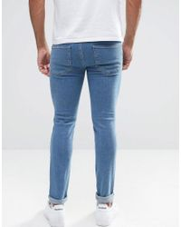 New Look Skinny Jeans With Knee Rips In Blue for men