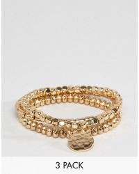 ASOS - Metallic Pack Of 3 Gold Stretch Bead Friendship Bracelets - Lyst
