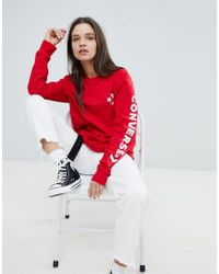 Converse - Long Sleeve T-shirt In Red With Arm Graphic - Lyst