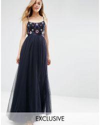 Needle & Thread | Blue Embellished Folk Midi Dress | Lyst