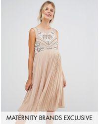 Maya Maternity | Brown Sleeveless Skater Dress With Pleated Skirt | Lyst